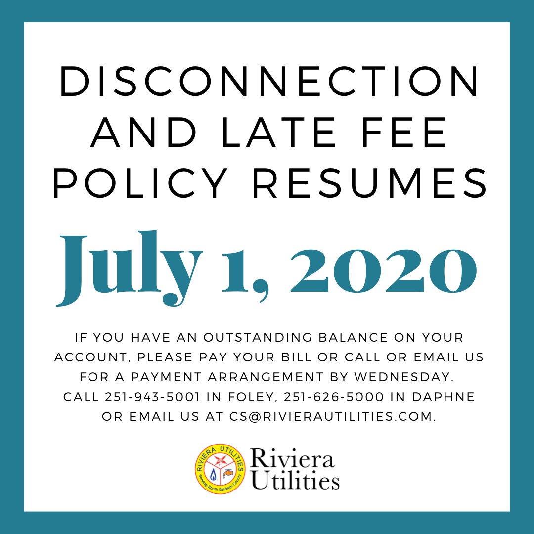 Disconnection and Late Fee Policy Resumes July 1, 2020